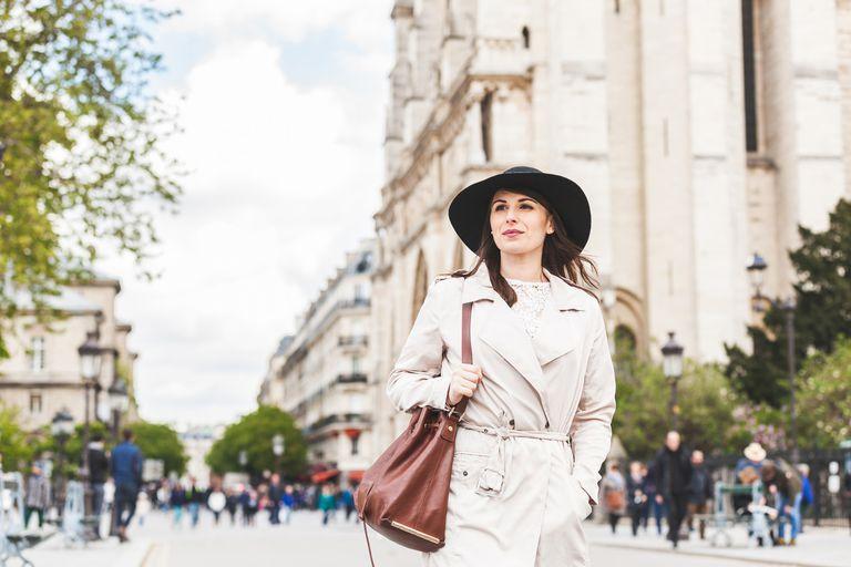 Woman strolling in Paris
