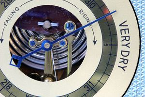 A barometer is a scientific instrument that measures atmospheric pressure.