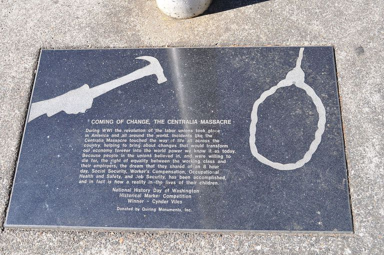 Close up of the plaque of the Centralia Massacre.