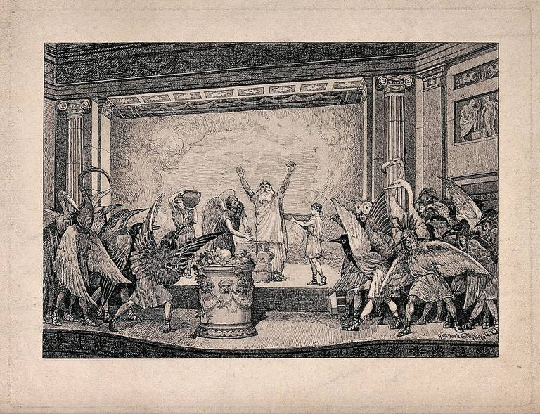 Illustration of a performance of the play Birds by Aristophanes.