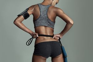 Back view of woman with fitness gear