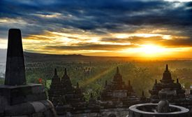 Landscape of Indonesia during a sunset.