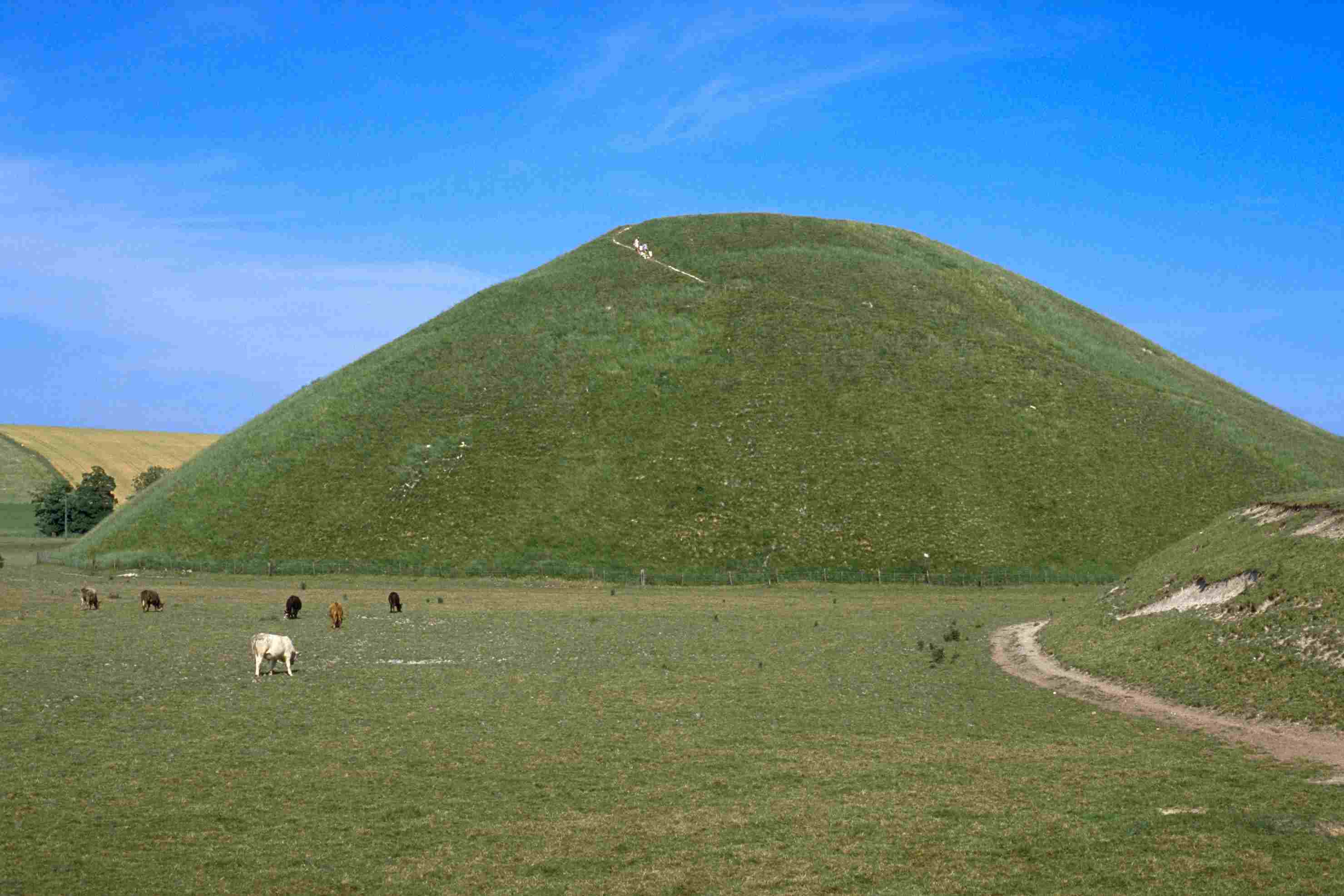 Silbury Hill, a man-made, prehistoric earthworks monument in southern England