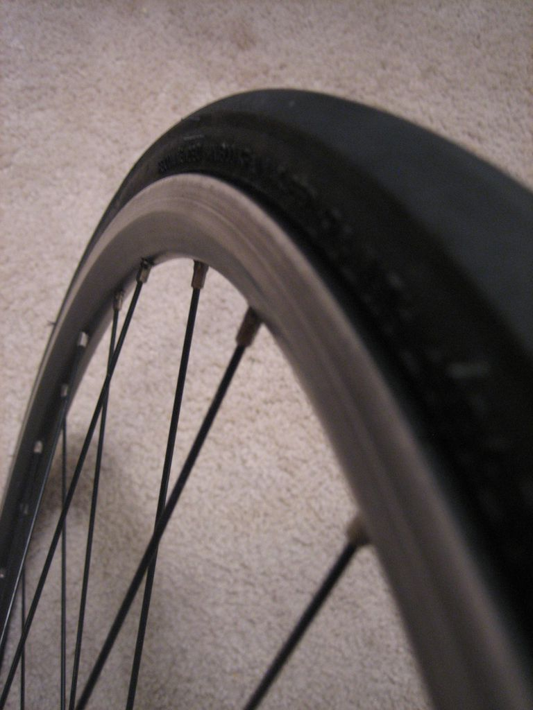 Tire mounted on rim.