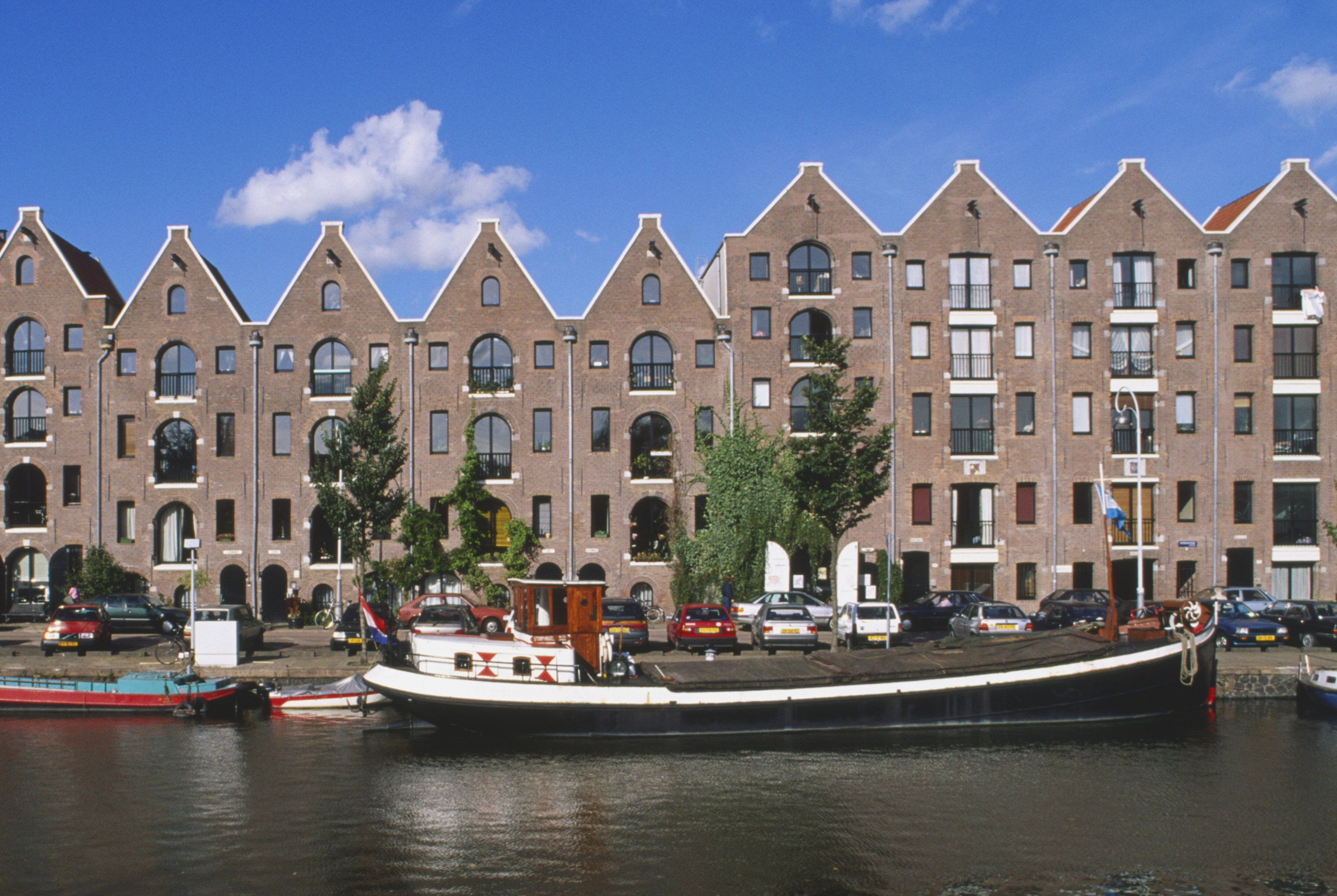 Spout Gabled Warehouses Along the Entrepotdok canal in Amsterdam