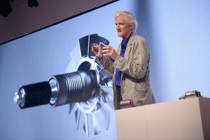 Sir James Dyson presenting supersonic hair dryer