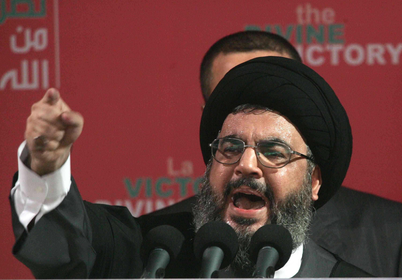 Hezbollah leader Sayyed Hassan Nasrallah speaks at a rally September 22, 2006 in Beirut, Lebanon.