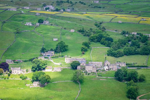English manor houses and fields