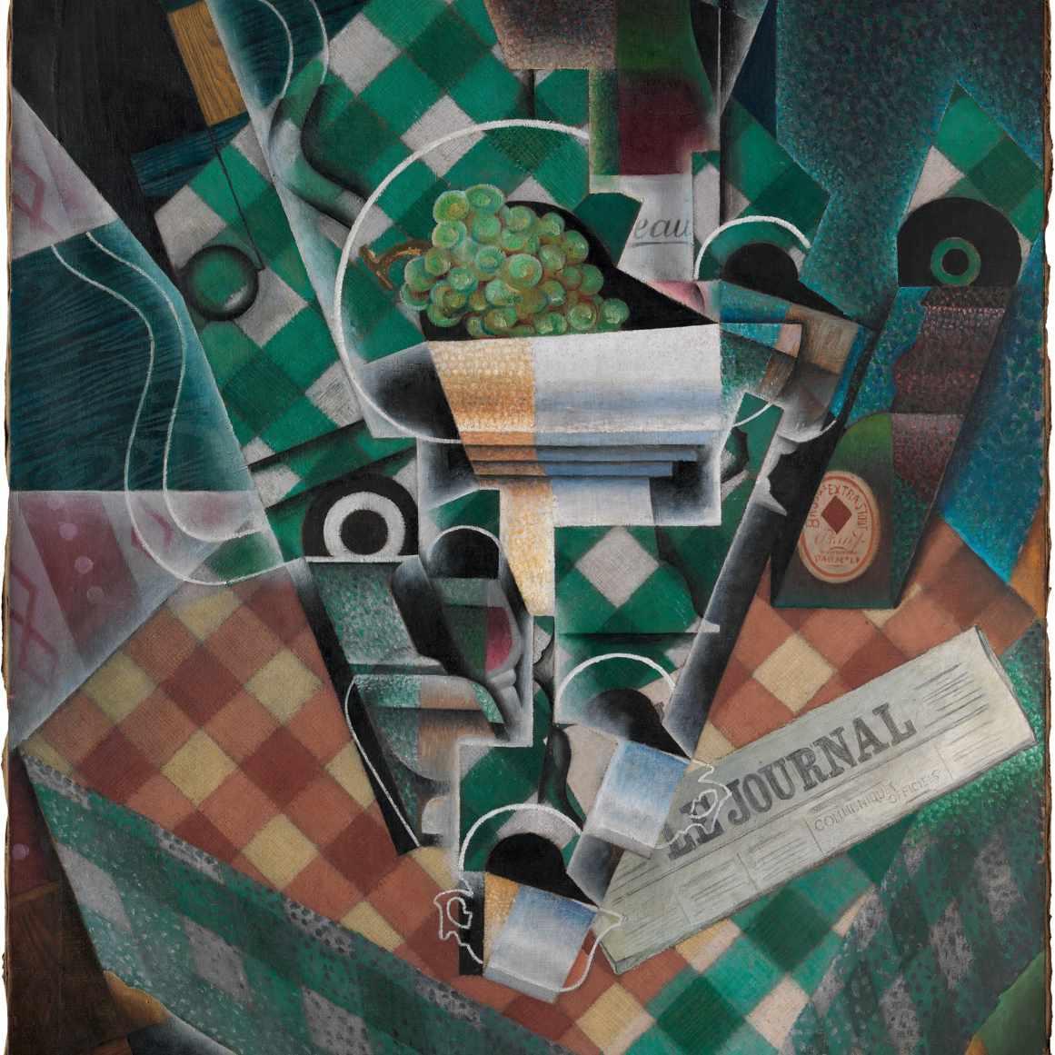 juan gris still life checkered tablecloth
