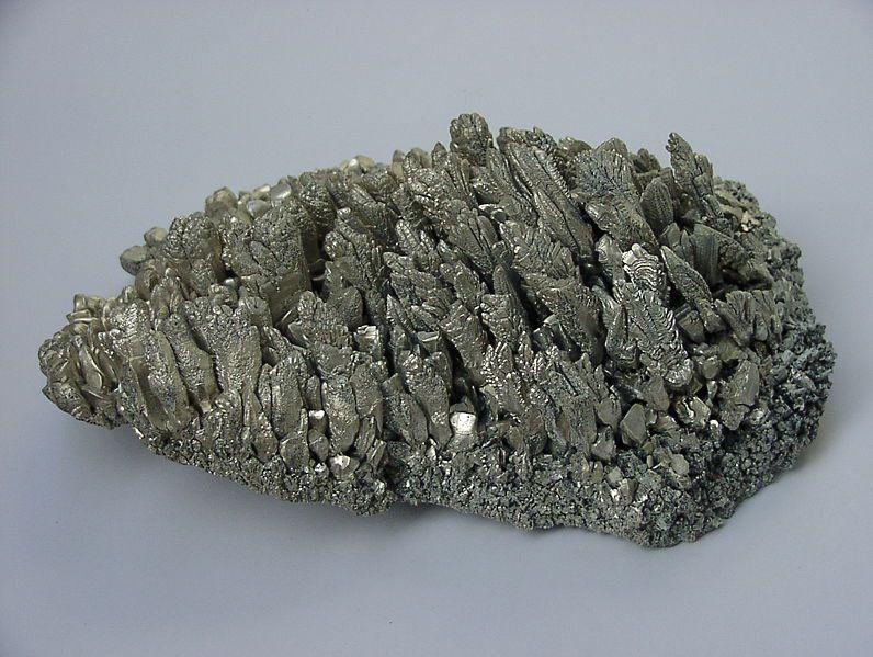 Crystals of elemental magnesium.