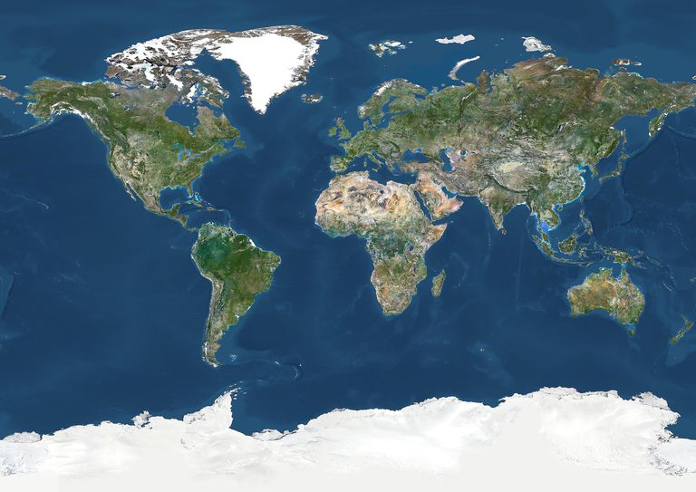 World In Geographic Projection, True Colour Satellite Image