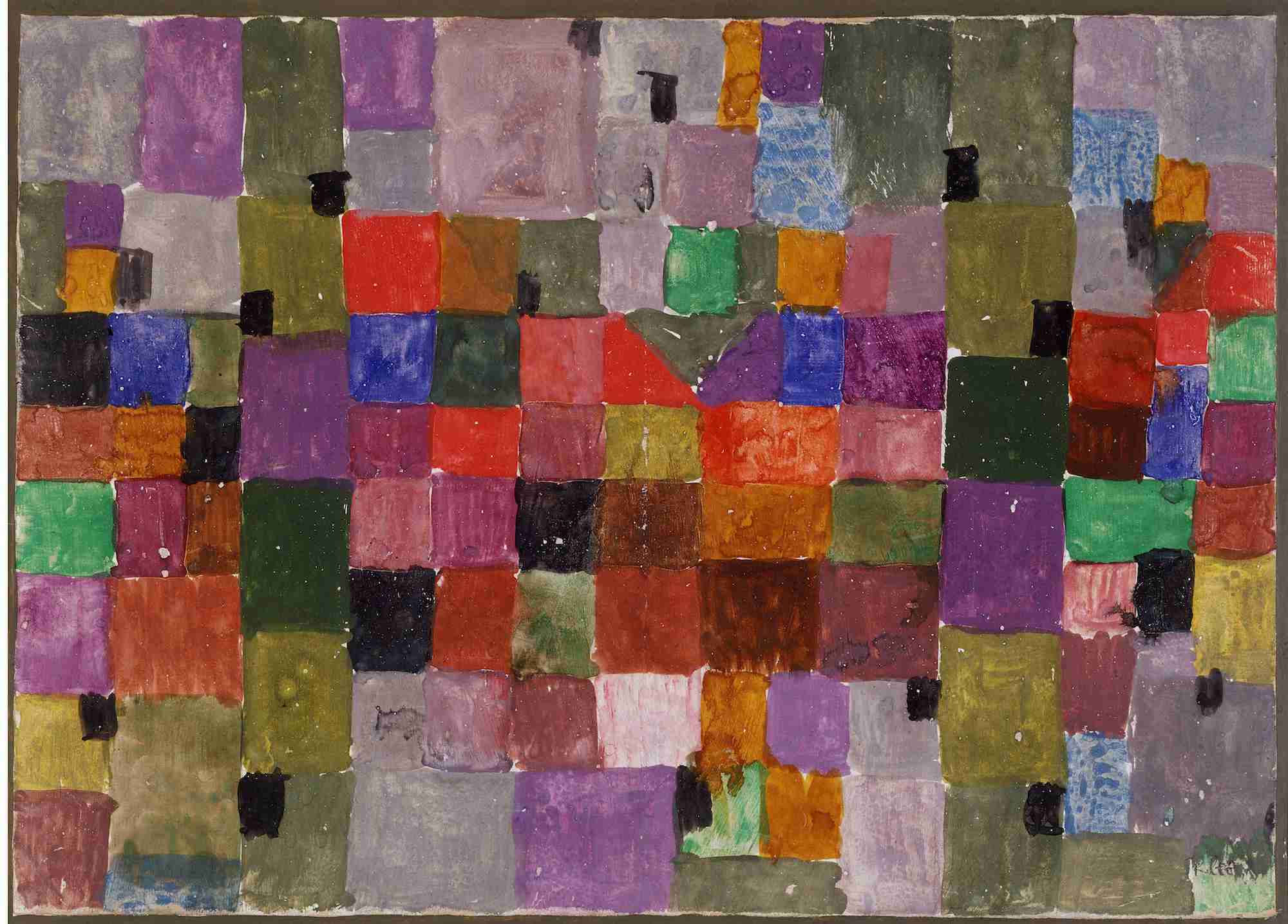Multi-colored gridded watercolor painting by Paul Klee titled Northern Village