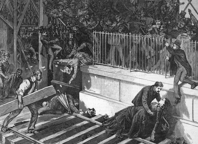Illustration of the disaster on the Brooklyn Bridge
