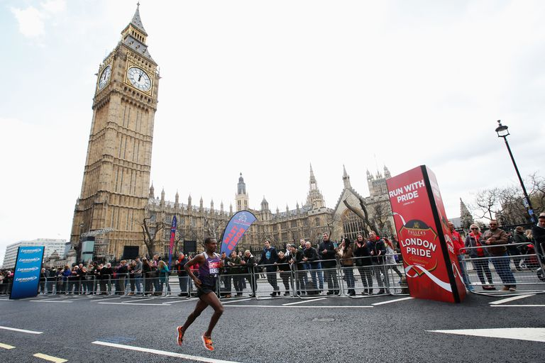 Kenenisa Bekele of Ethiopia passes Big Ben during the 2016 Virgin Money London Marathon