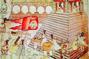 Aztec warriors defending the temple of Tenochtitlan against conquistadors, 1519-1521. Codex Borbonicus, Biblioteque Nationale, Paris