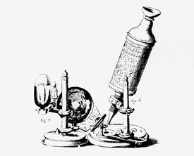 Hooke's compound microscope, 1665. Hooke used an oil lamp with flask for a light condenser and focused on a specimen by moving the whole microscope up or down.