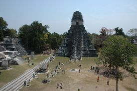 Aerial view of the Mayan Great Plaza