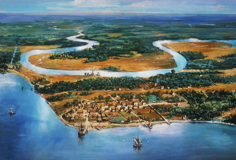 Painting, village of Jamestown c. 1615 on James River, Virginia, by NPS artist Sydney King