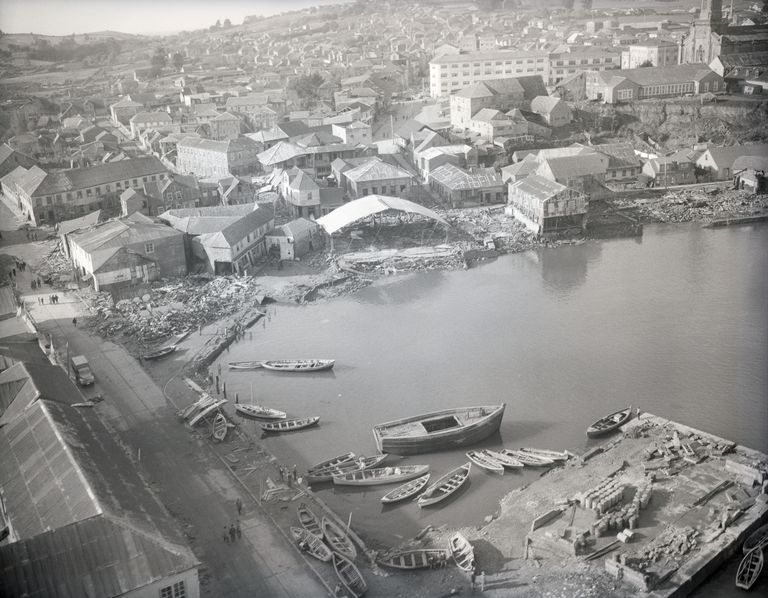 Aerial Of Waterfront Earthquake Damage