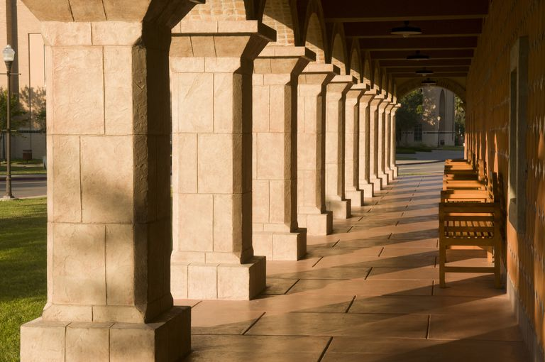 Portico with benches at University of Texas