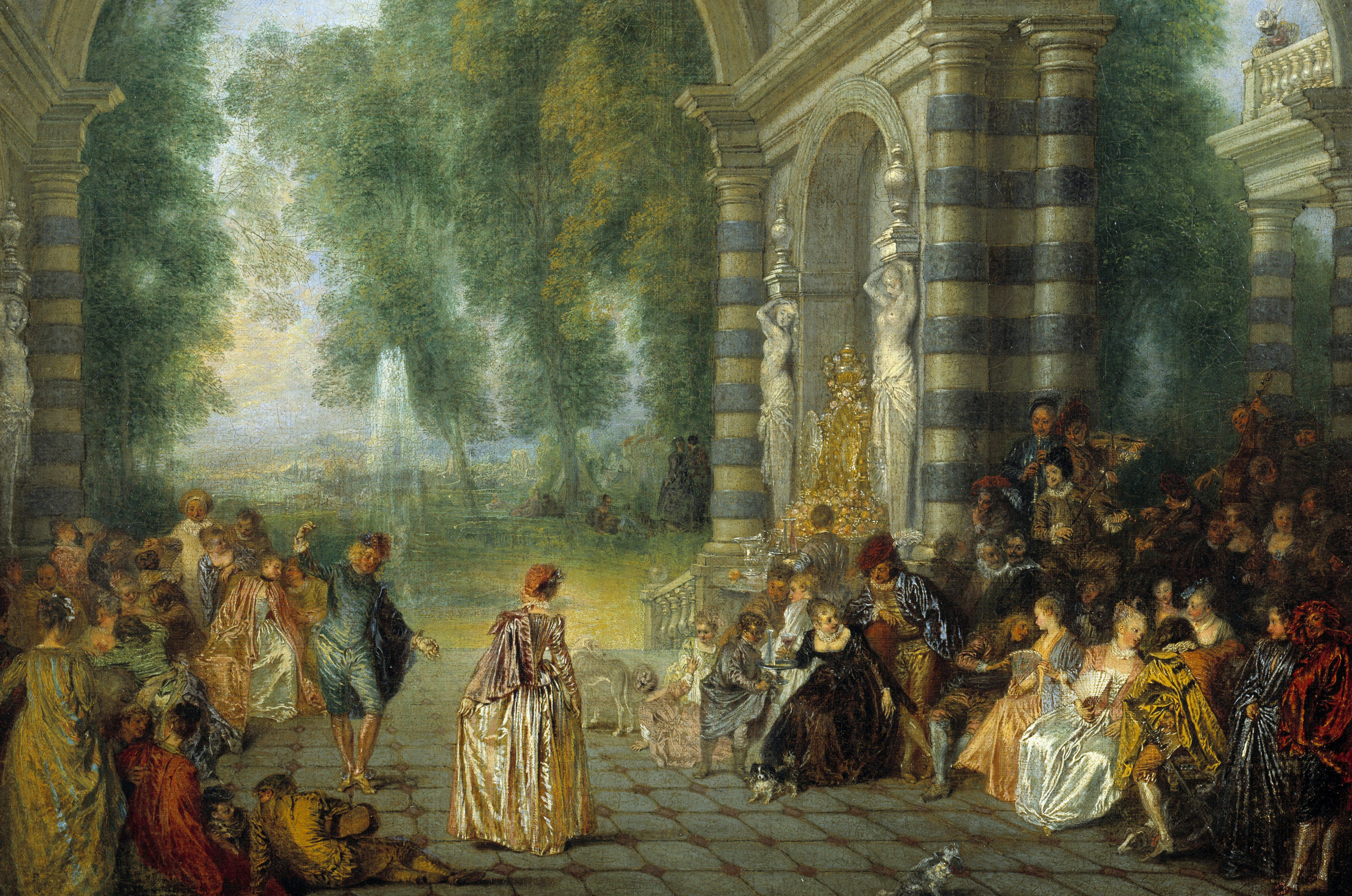 Brightly colored, highly details rococo era painting of many people standing and sitting around large, striped columns