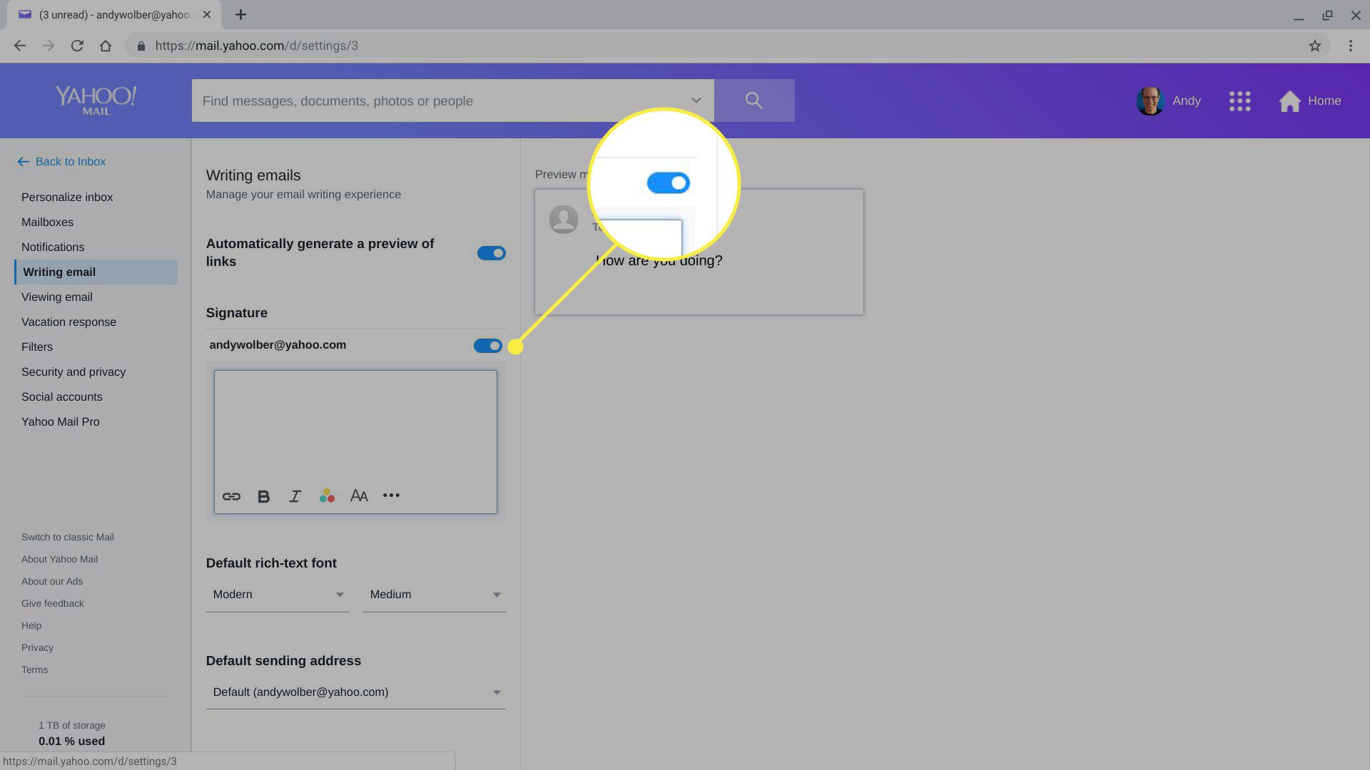 The Signature slider in Yahoo Mail