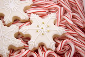 Snowflake Christmas Cookies & Peppermint Candy Cane Holiday Food Background