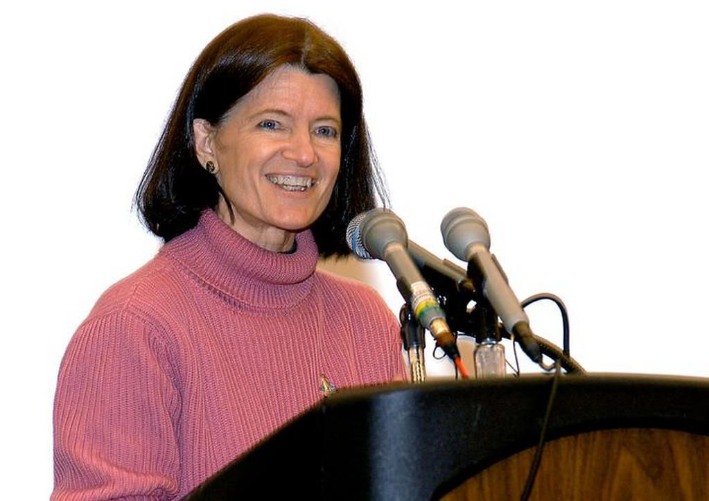 Sally Ride speaking to young women at science festival, 2003.
