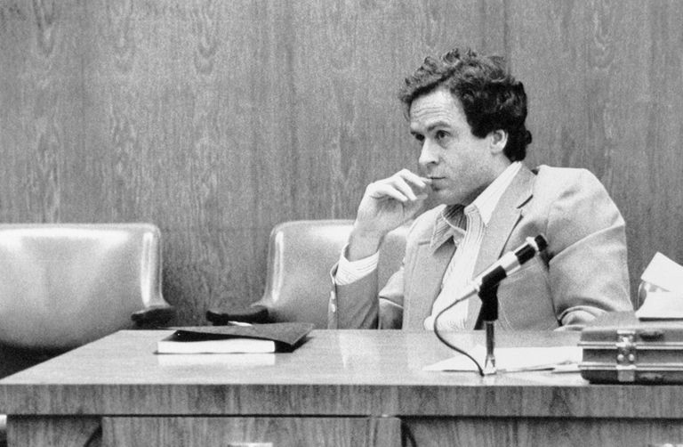 Ted Bundy staring with hand over mouth, in Court