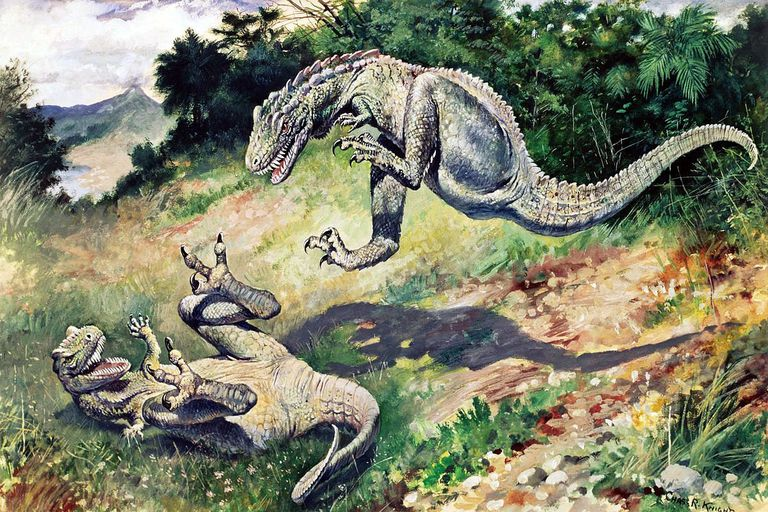 "An 1897 painting of ""Laelaps"" (now Dryptosaurus)"