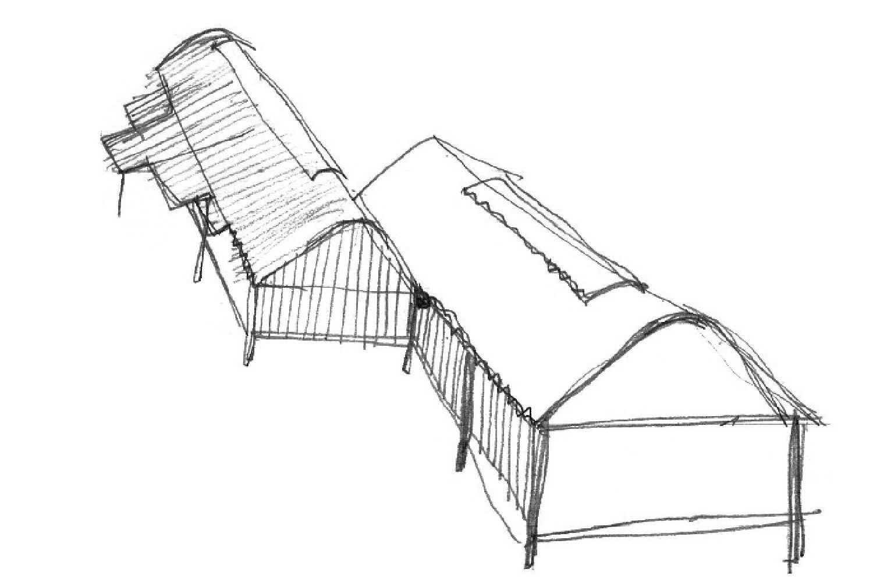 Overhead sketch of the Marie Short by Glenn Murcutt