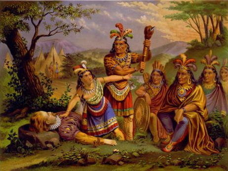 Colorful image representing the famous rescue by Pocahontas