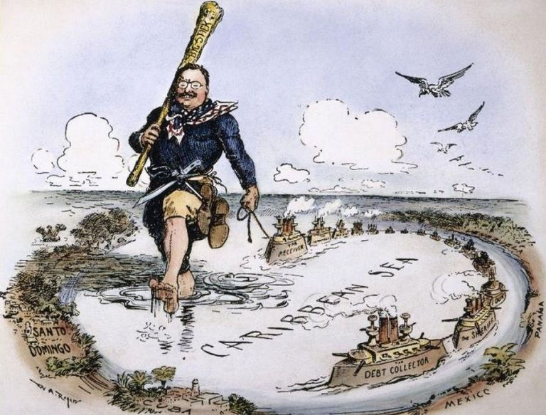 Newspaper cartoon of President Theodore Roosevelt towing US warships across the Caribbean Sea as an illustration of his gunboat diplomacy.