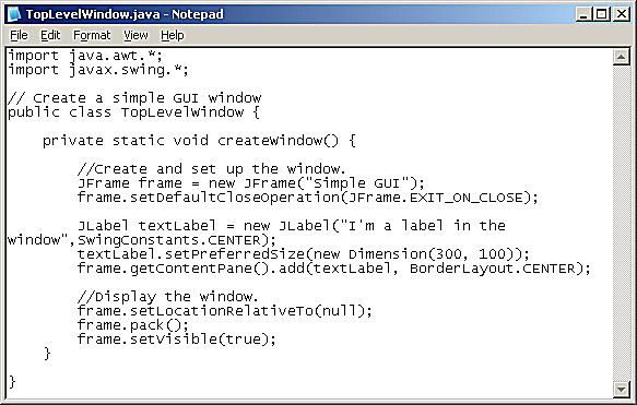 Using JFrame to Create a Simple Window