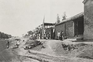 Road in front of English embassy in Beijing, China, Boxer Rebellion (1899-1901), photograph by R Alt, from LIllustrazione Italiana, Year XXVII, No 27, July 8, 1900