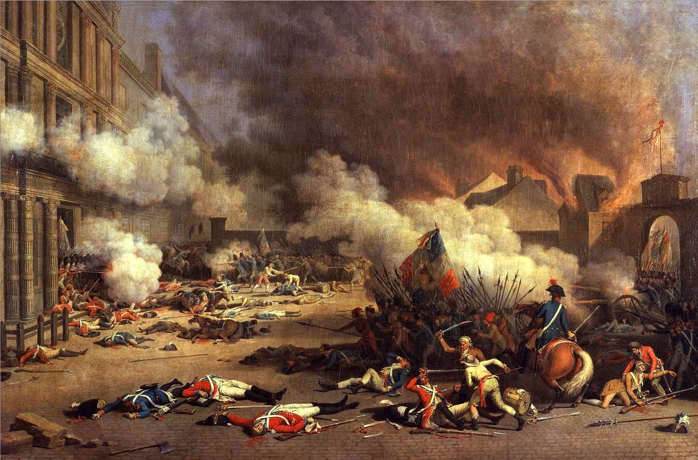 Painting of Storming of the Tuileries on 10. Aug. 1792 during the French Revolution
