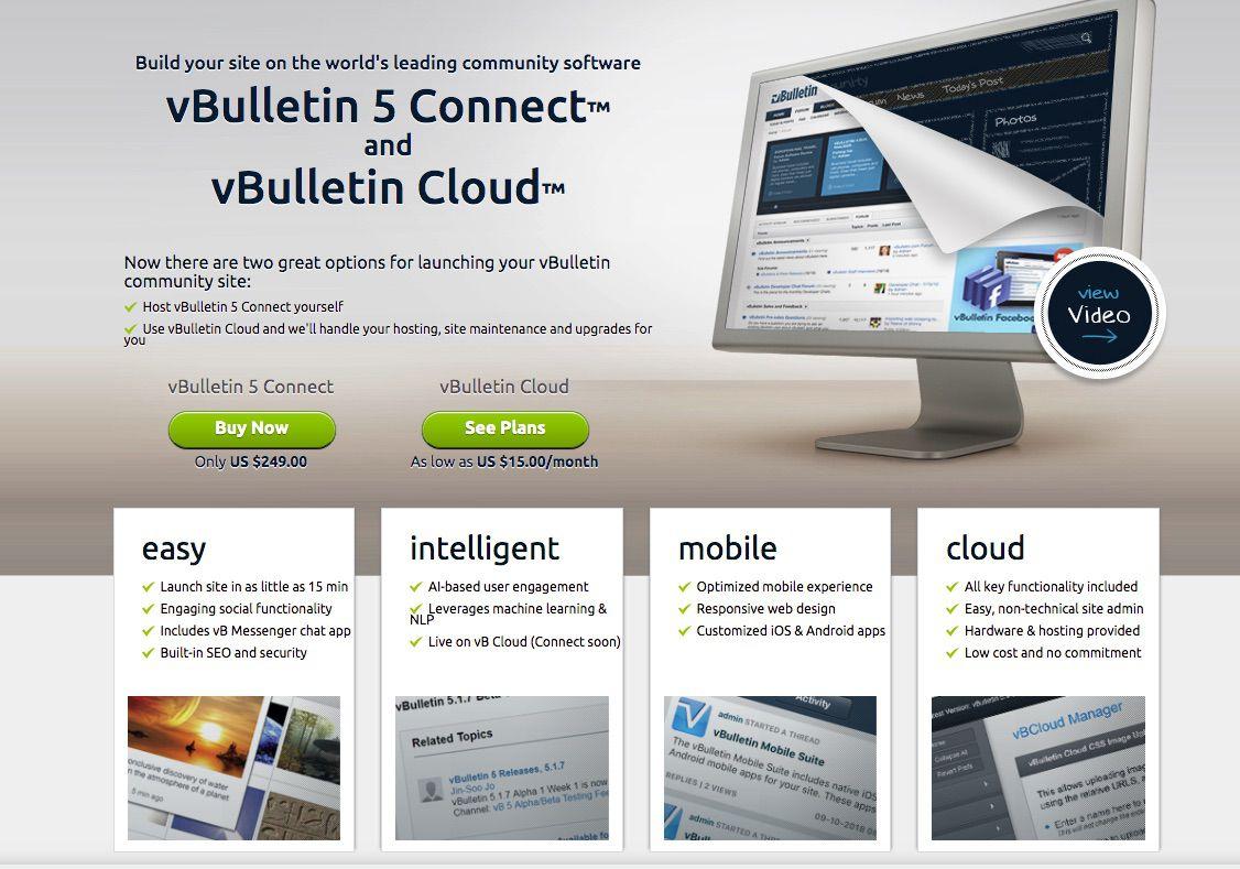 Screenshot of vBulletin software for adding forums to a website or blog