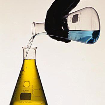 The Briggs-Rauscher reaction changes color from amber to blue.
