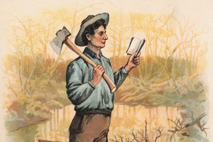 Painting of young Abraham Lincoln reading while carrying an ax.