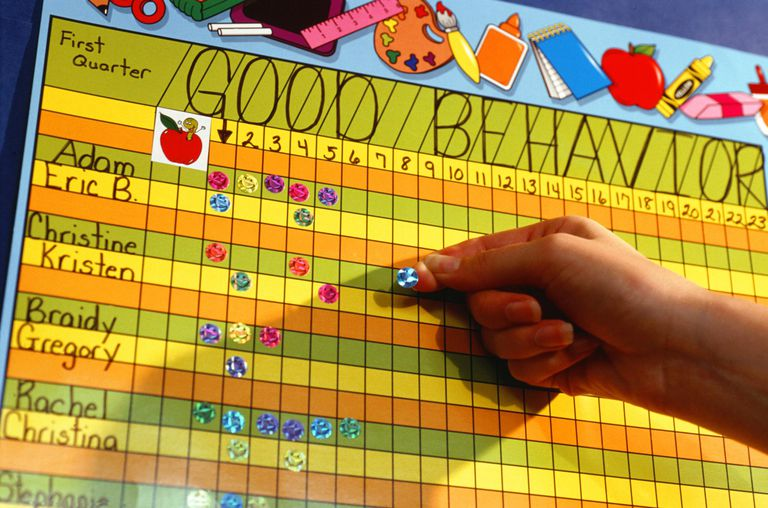 A teacher puts a sticker on a behavior chart