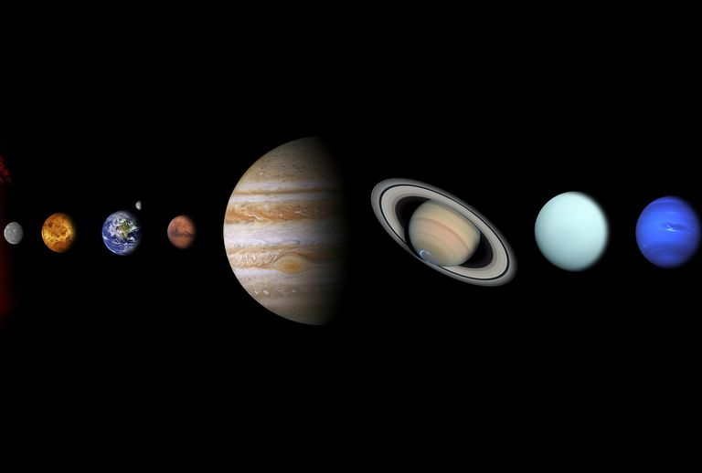 Planets of the solar system on a black background.