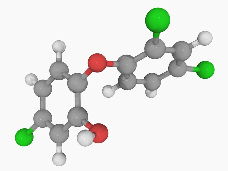This is the chemical structure of the antibacterial and antifungal agent triclosan.