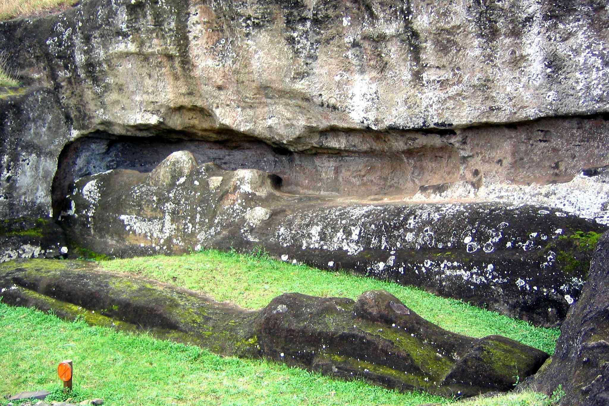 Two 5-meter long moai on their backs at Rano Raraku Quarry