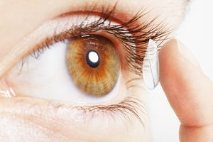 When contact lenses were invented, they were made of glass. Modern contacts are polymers that absorb water and permit gas exchange.
