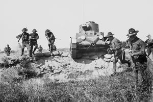 Infantry Running with Tank