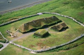 Aerial of L'Anse aux Meadows, a historic viking settlement, Newfoundland, Canada.