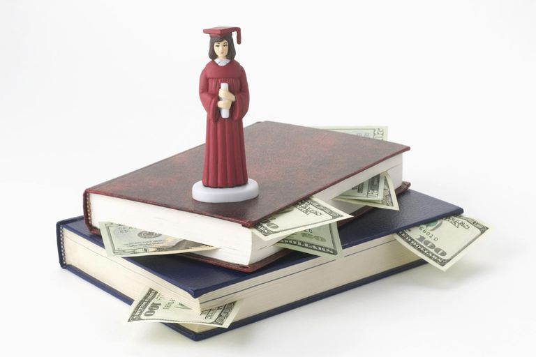 Stack of books and money, and graduation figurine