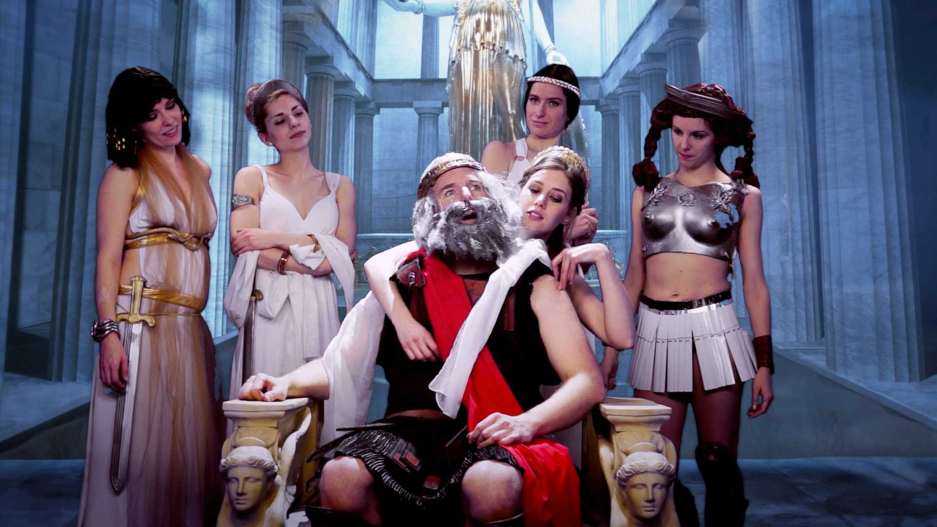 The magistrate negotiates with Lysistrata in the 2014 feature film Lysistrata