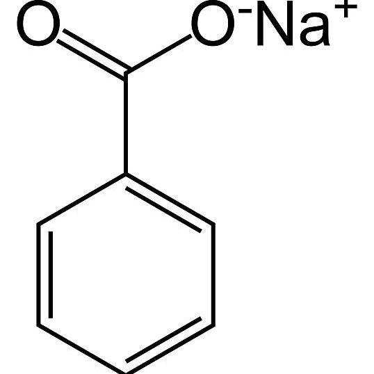 Esta es la estructura química esquelética del benzoato de sodio.
