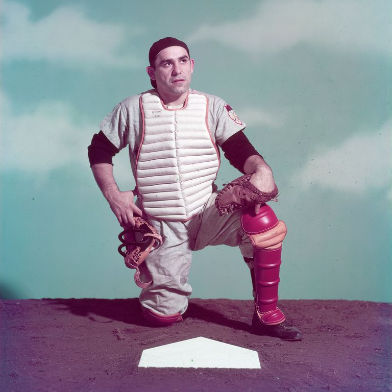 Studio portrait of New York Yankees catcher Yogi Berra